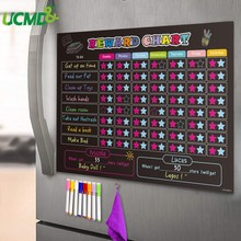 Magnetic Refrigerator Kid Chore Chart Chalkboard Daily Planner Calendar Improve Child Responsibility Behavior Star Reward Chart