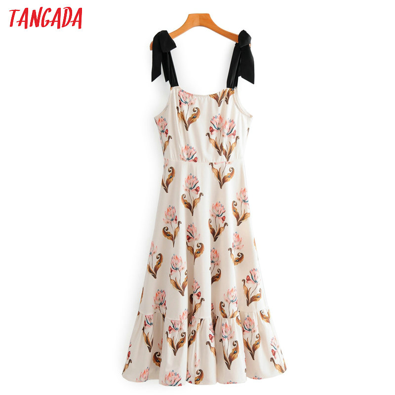 Tangada Fashion Women Floral Print Dress Sleeveless Bow Strap Ladies Beach Midi Dress Vestidos 2F95