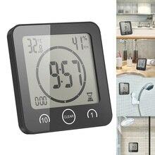 Часы настенные с термометром и гигрометром, цифровые водонепроницаемые присоски с ЖК дисплеем, для душа, измеритель влажности и температуры