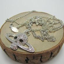 Europeu e americano moda prata branco cheio diamante cruz fantasma cabeça saturno colar