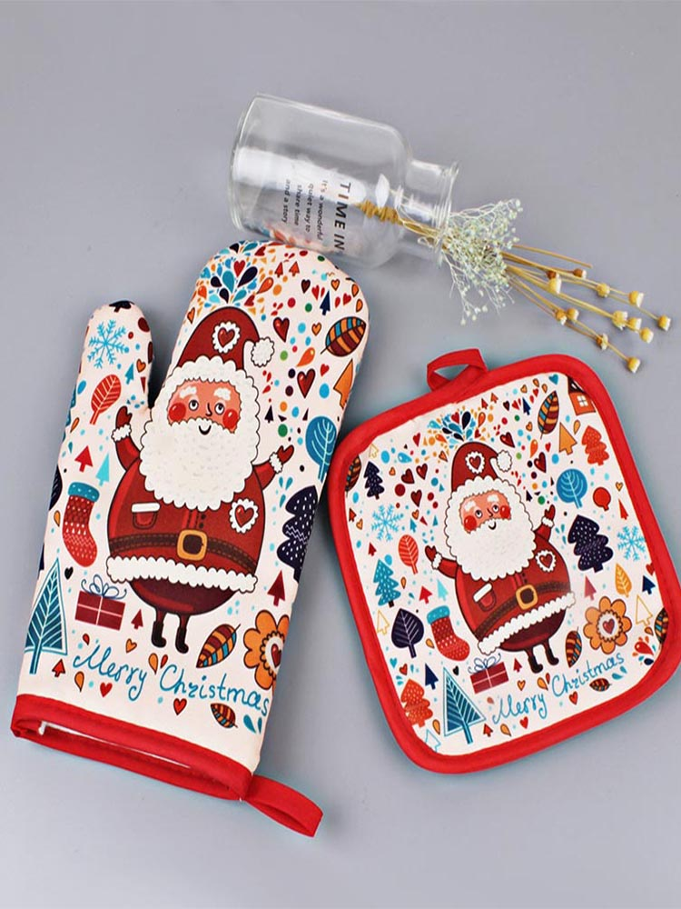 Oven Gloves Microwave Kitchen-Tools Anti-Hot Christmas-Decoration Insulation Baking Xmas
