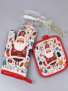 Oven Gloves Microwave Kitchen-Tools Christmas-Decoration Insulation Baking Anti-Hot Mat