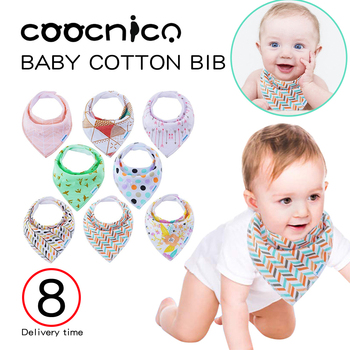 8pcs/Set Baby Dribble Bibs Girls Triangle Double Layers Cotton Soft Natural Cotton Baby Drool Bib for Drooling Super Absorbent premium baby bandana bibs extra soft natural cotton baby drool bib for drooling and teething super absorbent baby shower gift