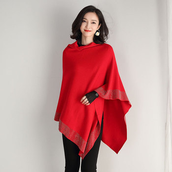 2019 women retro cape coat female cloak autumn 2019 new diamond knitted shawl sweater loose bat sleeve temperament