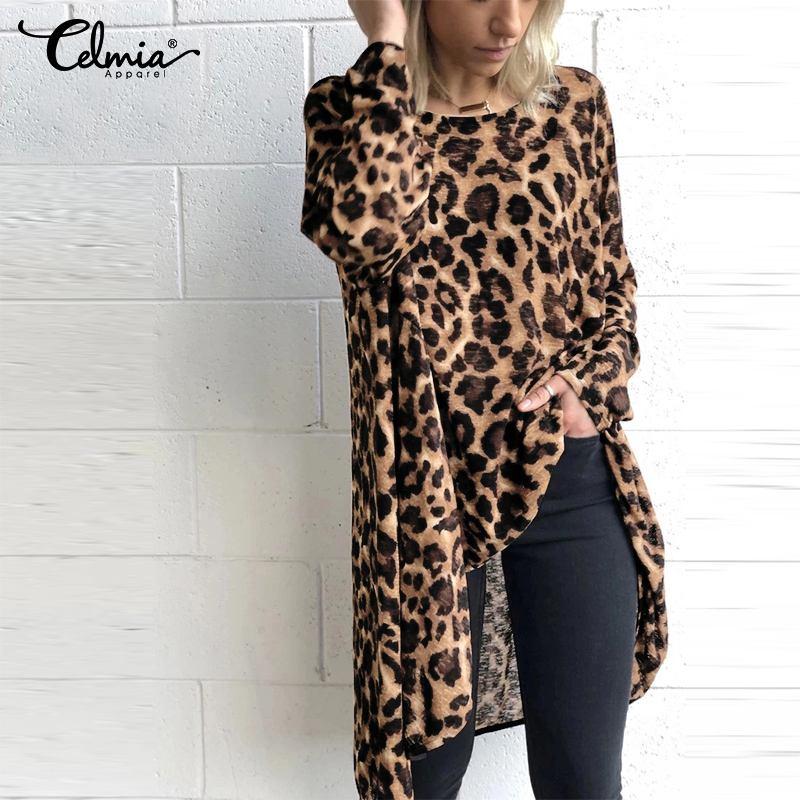 Celmia 2019 Women Autumn Tunic Long Sleeve Irregular Leopard Print Blouses Tops Vintage Long Shirts Casual Blusas Plus Size 5XL