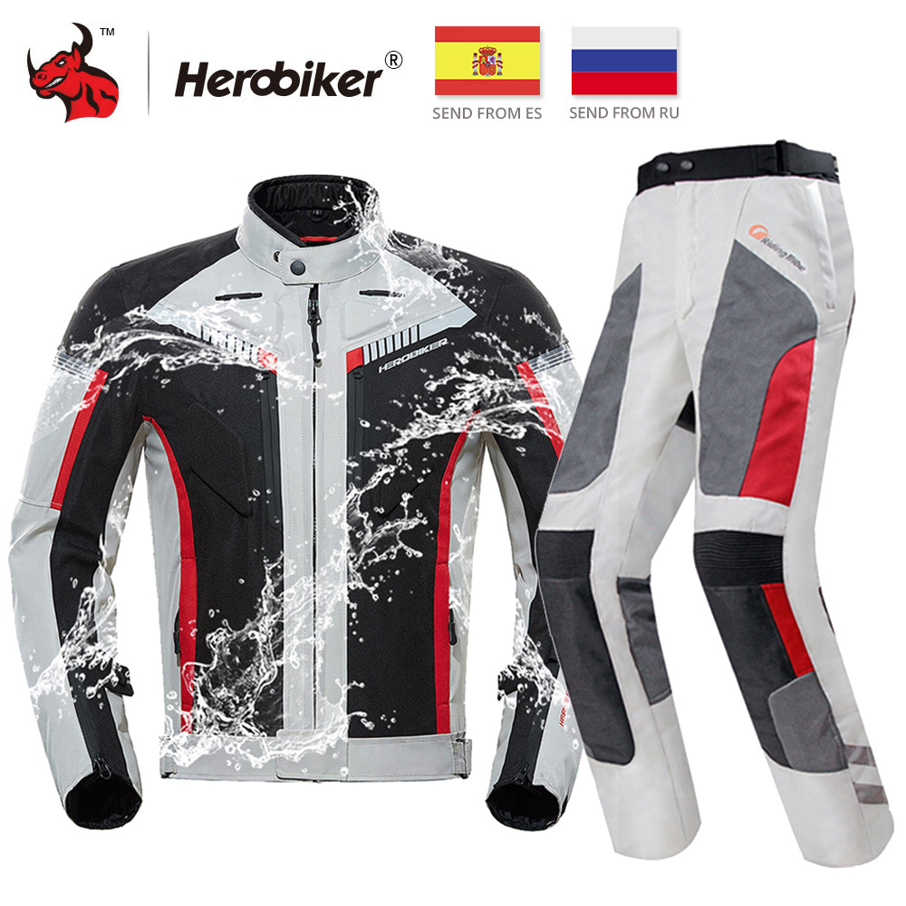 HEROBIKER Motorcycle Jacket Protective Gear Waterproof Moto Jacket Men's Motocross Clothing Motorcycle Suit With 5 Protector