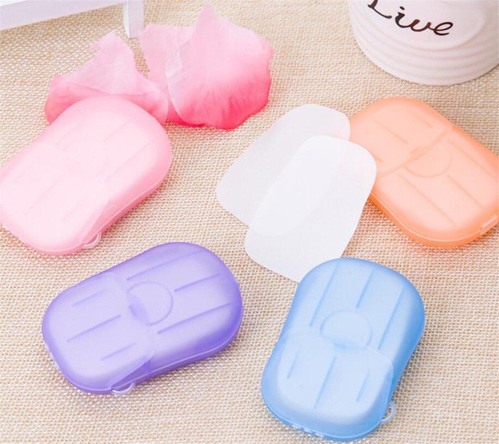 30box/lot 20PCS/box Disposable Mini Travel Soap Paper Washing Hand Bath Cleaning Portable Boxed Foaming Soap Paper
