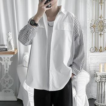 цена Summer Dress Shirt Men's Fashion Business Casual Striped Shirt Men Streetwear Wild Loose Seven Sleeve Shirts Mens M-3XL онлайн в 2017 году