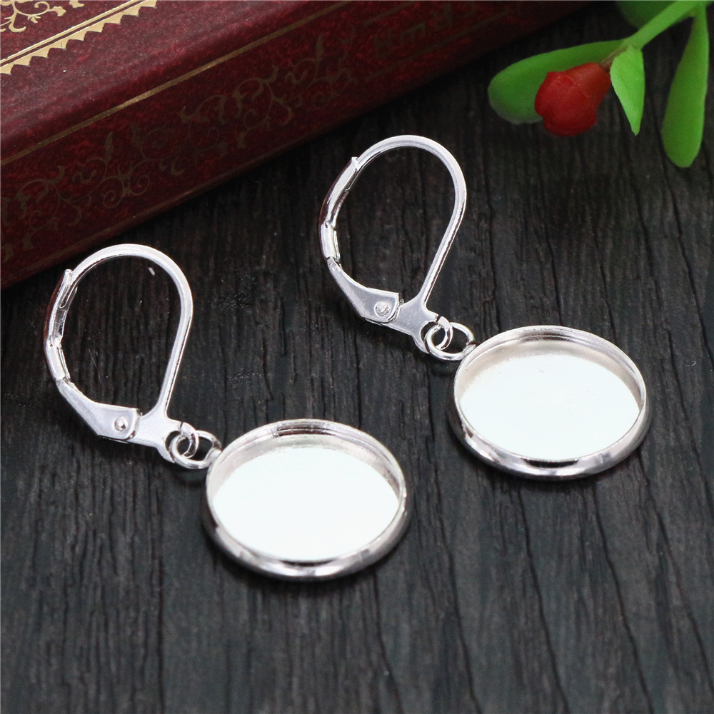 12mm 10pcs Bright Silver Plated Women Fashion Style French Lever Back Earrings Blank/Base,Fit 12mm Glass Cabochons -W2-30