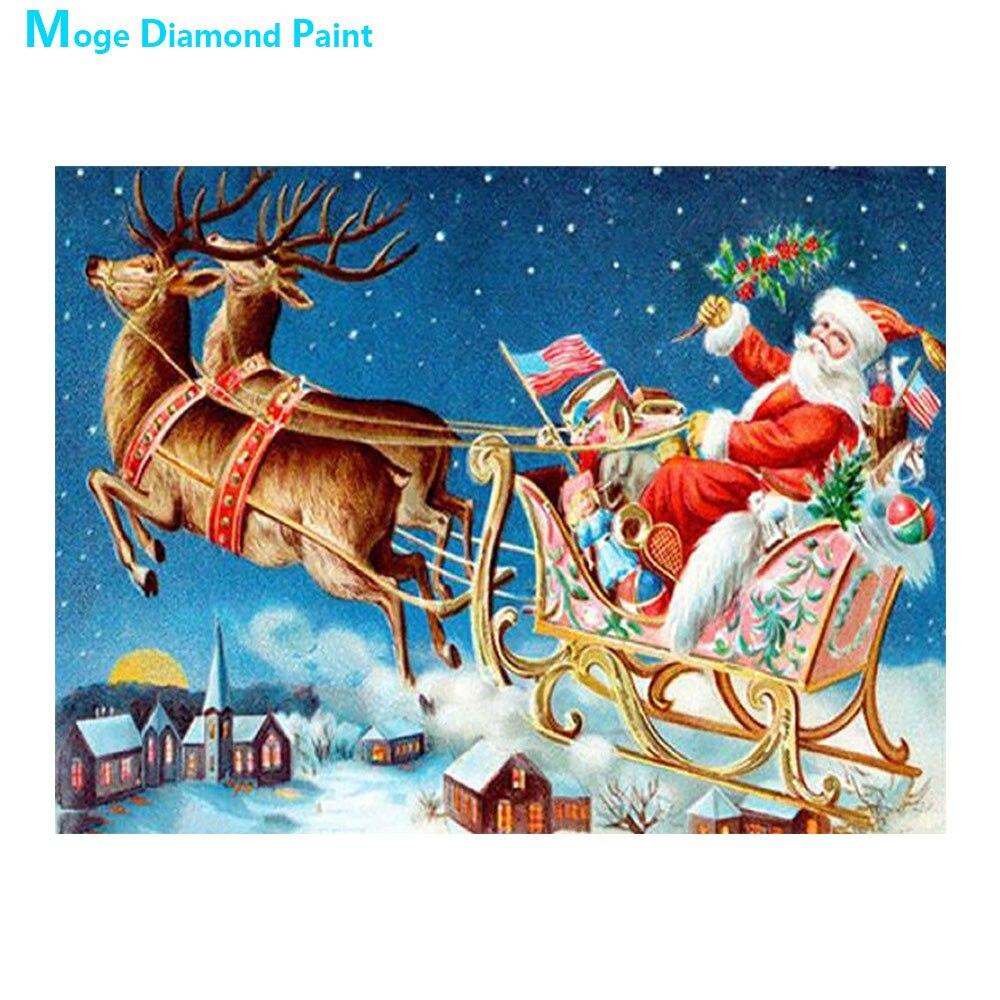 christmas santa claus Moge Diamond Painting Full Round portrait animal cartoon New DIY Toy sticking drill cross embroidery 5D