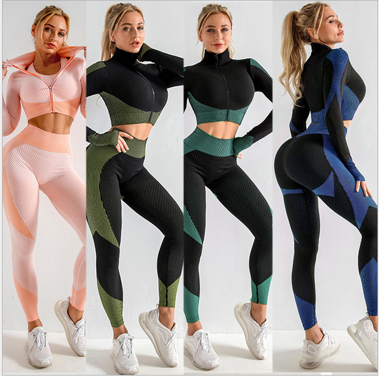 Brand Sport Suit Woman Seamless Running Tracksuit Sportswear Gym Crop Top Yoga Pant Fitness Clothes Workout Leggings 2 Piece Set