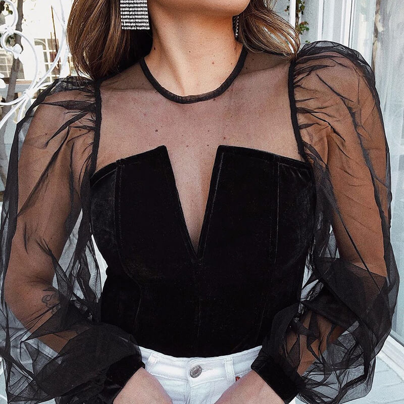 2020 Suede Mesh Stitching Long-sleeved Top Sexy Perspective Slim Fit Puff Sleeve Bottoming Shirt  Womens Clothing