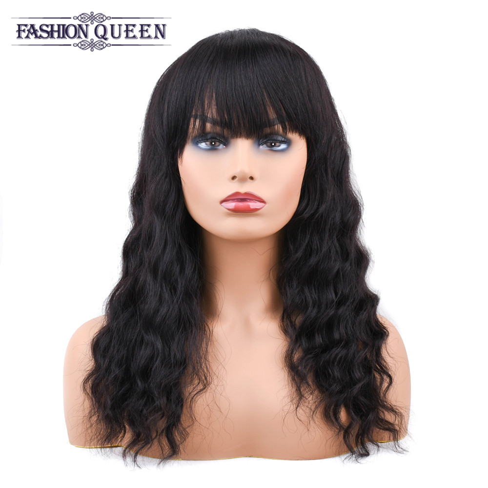 Brazilian Human Hair Wigs For Black Women Natural Color Loose Wave Non Remy Machine Made Wig Fashion Queen
