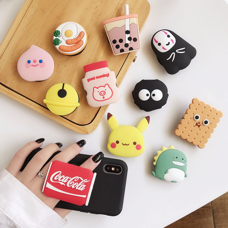 Food Cute Cartoon Silicone Phone Expanding Stand And Grip, Cute Cartoon Fashion Phone Holder For All Mobile Phones