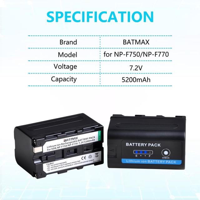 4X 5200mAh NP-F750 NP F750 F730 F770 batterie avec indicateur de alimentation LED + LCD double chargeur USB pour Sony CCD-TRV215 CCD-TR917