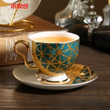 Simple Ceramic Coffee Cup and Saucer Chinese Tea Esspresso Reusable Bamboo Cup Luxury Juego De Tazas Cafe Home Decoration(China)