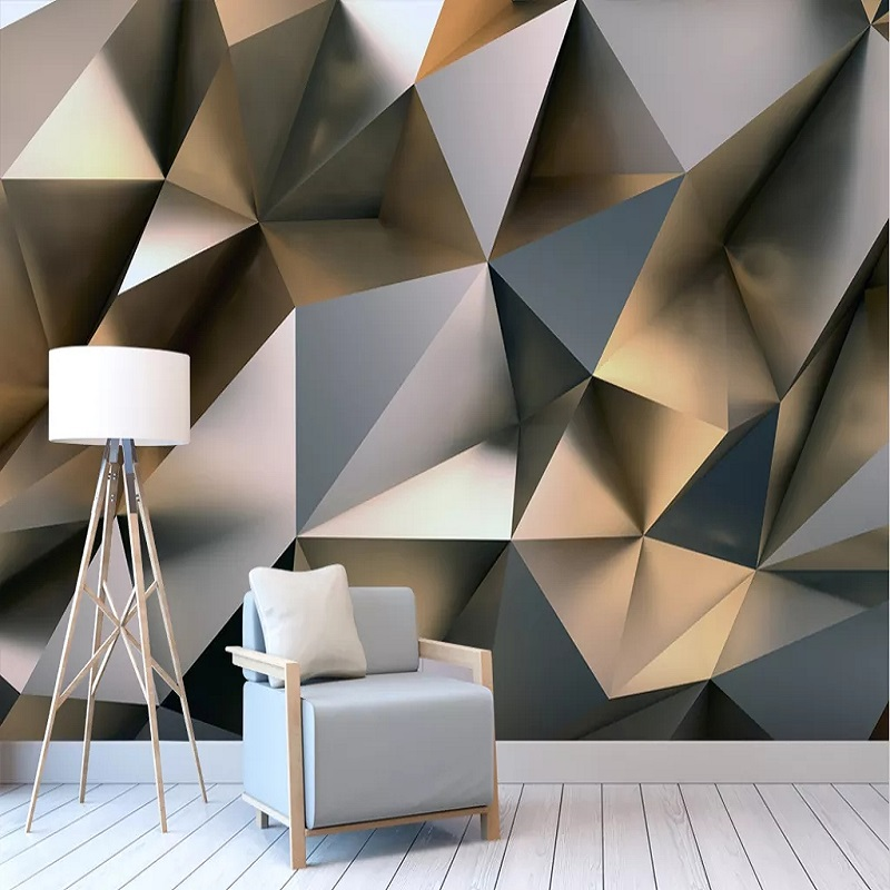 Custom Large Mural 3D Wallpaper Modern Creative 3D Expansion Space Triangle Wall TV Wall Decor Deep 5D Embossed