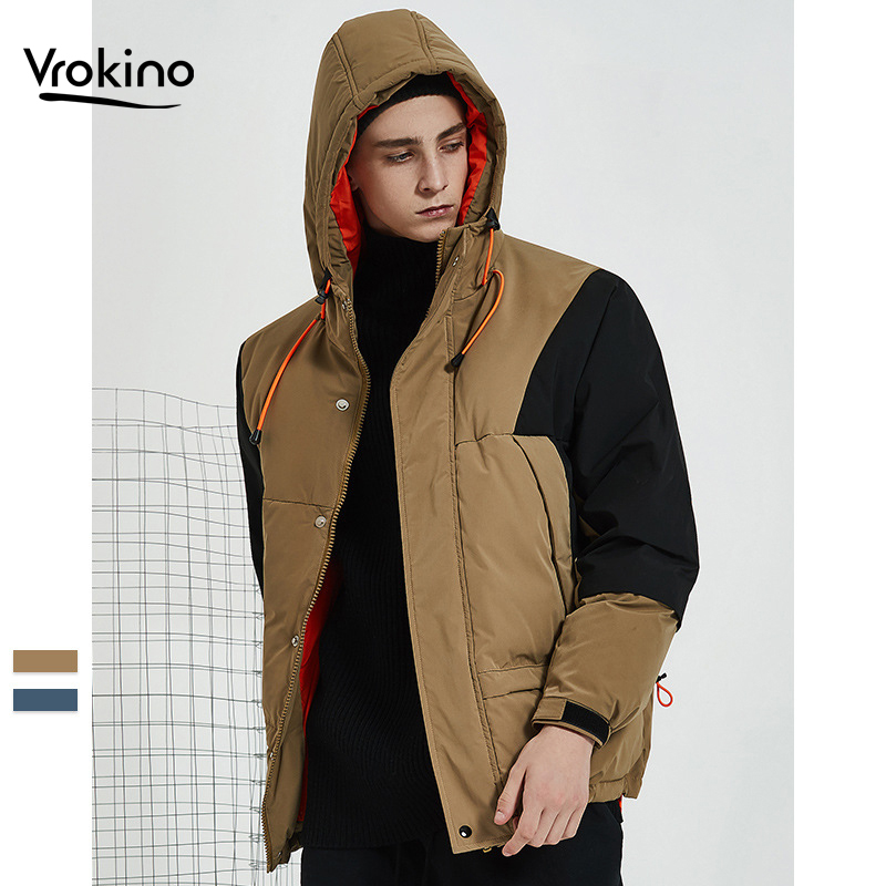 Winter   Down   Jacket Thick   Coat   2019 New Listing Men's Loose Hooded Short White Duck   Down   Top Men's Blue Khaki Brand Clothing