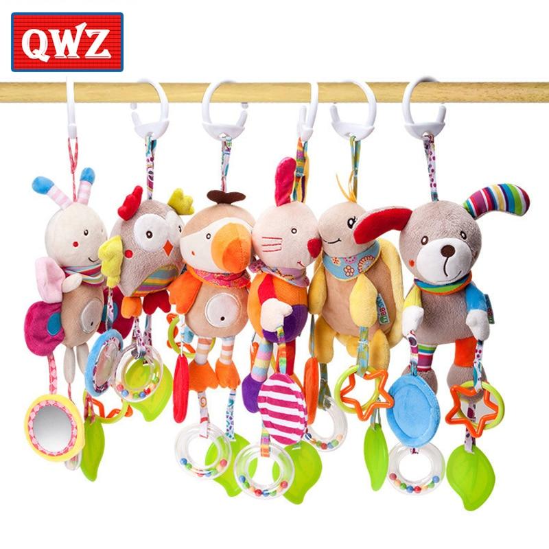 QWZ karikatür bebek oyuncakları 0-12 ay yatak arabası bebek cep asılı çıngıraklar yenidoğan peluş bebek oyuncaklar bebek Boys için kız hediyeler