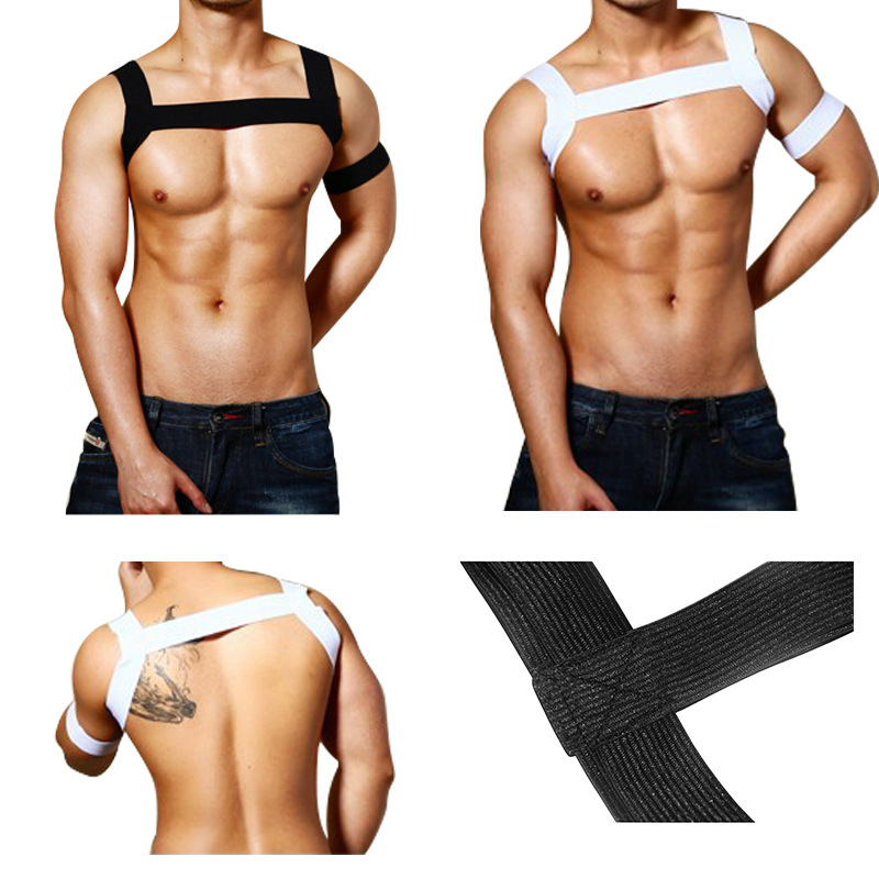 2PCS/Sets Men Body Chest Harness Elastic Shoulder Harness Strap Gay Stage Costume Clubwear Male Bondage Crop Tops Black White