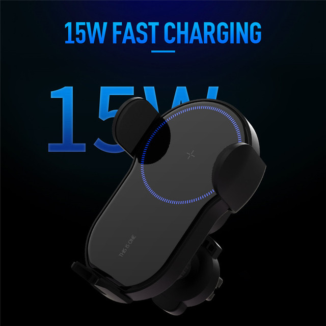 15W Qi Wireless Car Charger Air Vent Phone Holder for iPhone Samsung Huawei Fast Charging Wireless Charger Auto Sensor Clamping
