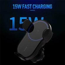 15W Qi kablosuz araç şarj hava firar telefon tutucu iPhone Samsung Huawei için hızlı şarj kablosuz şarj otomatik sensör sıkma