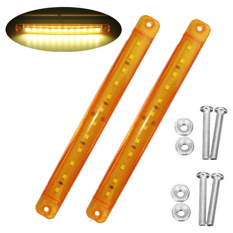 2PCS Yellow 12LED Truck LED Marker Lights Truck LED Side Marker Lighting Marker LED Lamp 24 V Truck Parking Lights For Trailers