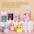 Ультразвуковая электрическая зубная щетка для детей, силиконовая Автоматическая ультра звуковая зубная щетка с мультяшным рисунком для де...