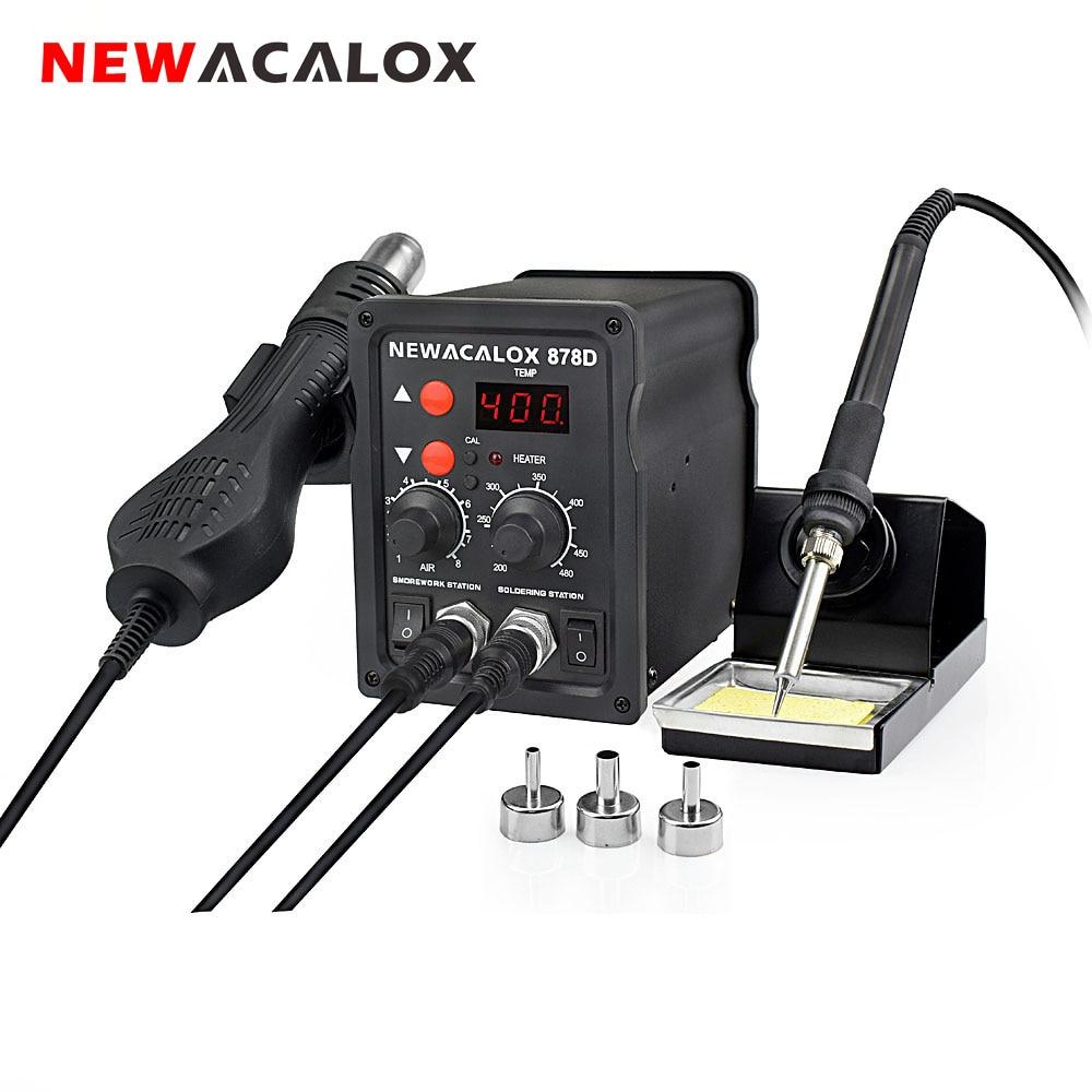 NEWACALOX EU / US 220V / 110V 700W Estación de soldadura de retrabajo Termorregulador Soldador Soldador de aire caliente Kit de herramientas de soldadura