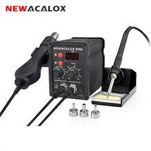 NEWACALOX Estación de soldadura termorregulador, pistola de soldar de aire caliente, Kit de herramientas de soldadura, 220V/110V 700W