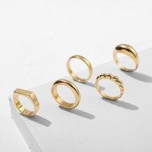 Moda simples anéis grossos de ouro para as mulheres na moda chunky geométrica círculo redondo torção corda anéis feminino jóias de casamento