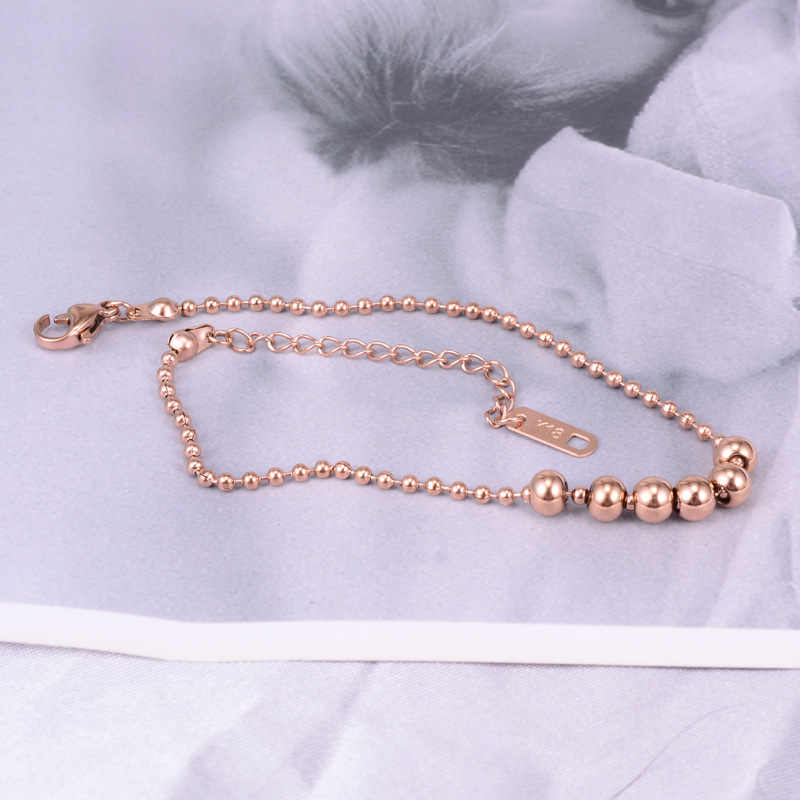Bohemia Rose Gold Color Anklet Women Link Chains Beads Stainless Steel Ankle Bracelet Cheville Foot Jewelry High Quality No Fade