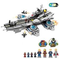 2019 SuperHero Ideas Base Helicarrier Aerial carrier SHIELD aircraft Super Heros Marvel Building Blocks Sets Bricks Kits Movie 2