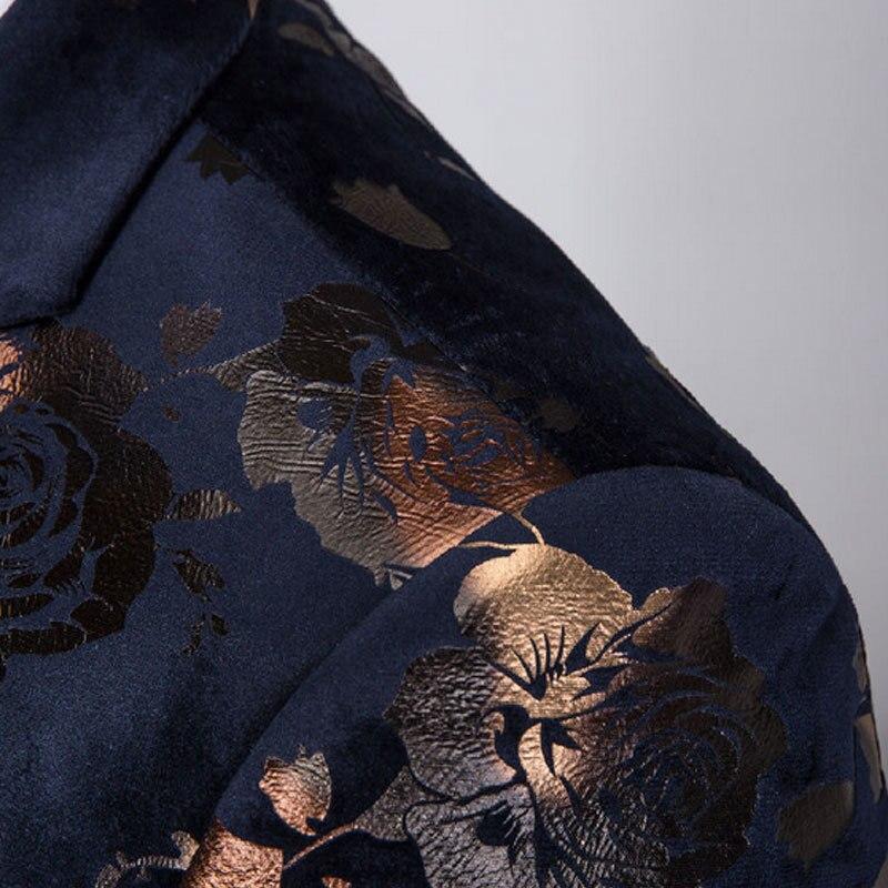 Haute qualité tissu doré imprimé Slim Fit robe de mariage costumes pour hommes 3 pièces Costume hommes nuit Club chanteur scène Costume Homme - 4