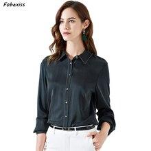Natural Silk Blouse Women Fall 2019 Long Sleeve Elegant Black Real Satin Shirts Cardigan Buttoned Down Shirt