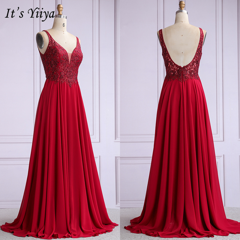 It's Yiiya Evening Dress Burgundy V-neck Embroidery Formal Evening Dresses Plus Size Backless Long O001 Robe De Soiree 2020