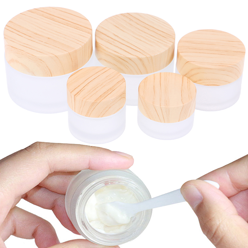 1PCS 5g 10g 15g 30g 50g Refillable Bottle Cosmetic Container Frosted Glass Jar Skin Care Eye Cream Jars Pot With Wood Grain Lid