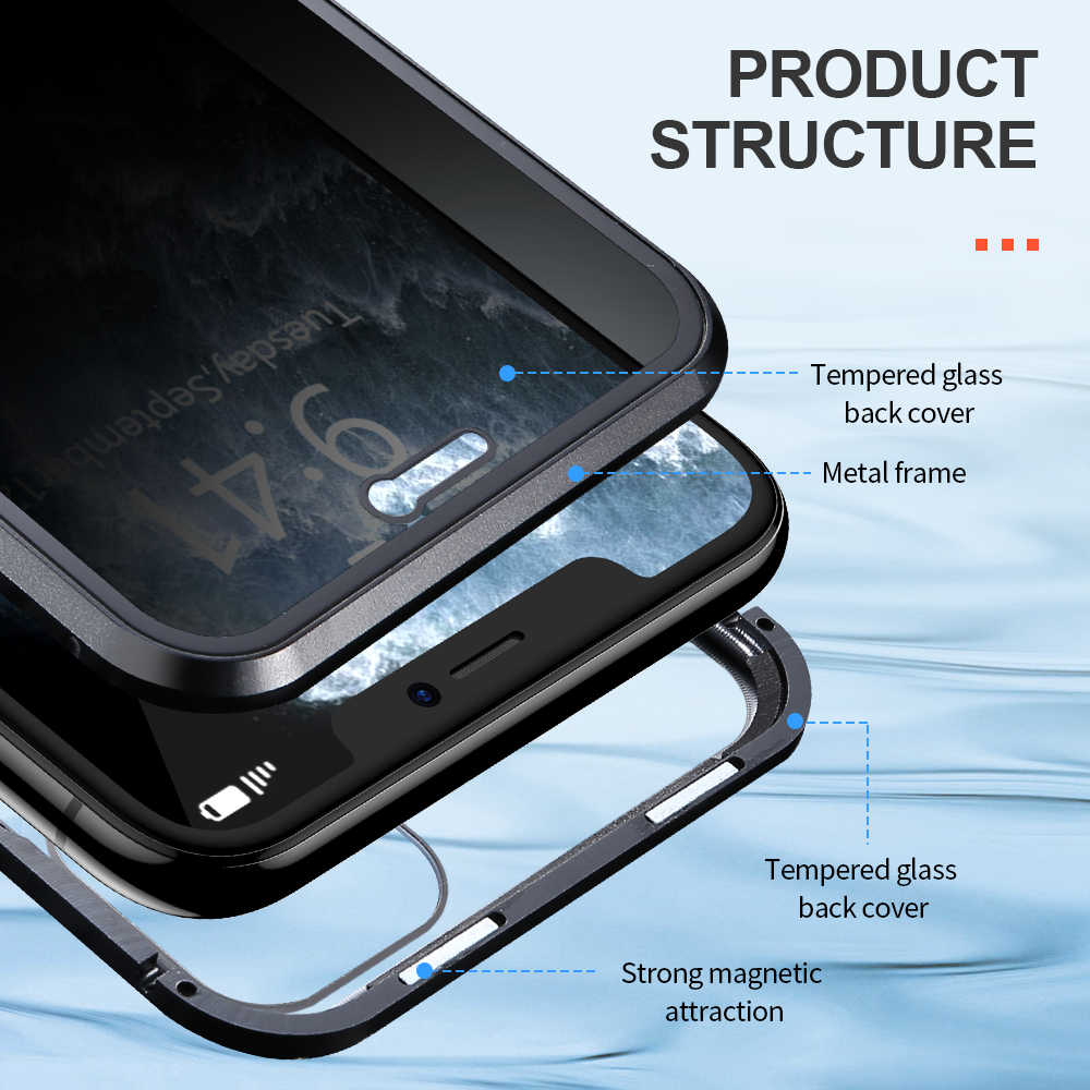 FLOVEME 磁気電話ケース iphone 11 プロマックス 360 フル Protecive iPhone11 ため強化ガラス金属磁石プロマックス