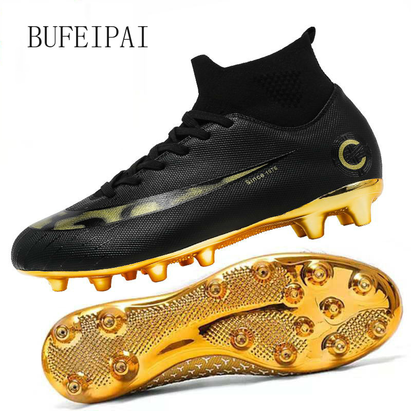 BUFEIPAI white / black gold men's soccer shoes high ankle soccer shoes women's soccer shoes Botas De Futbol socks non-slip shoes title=