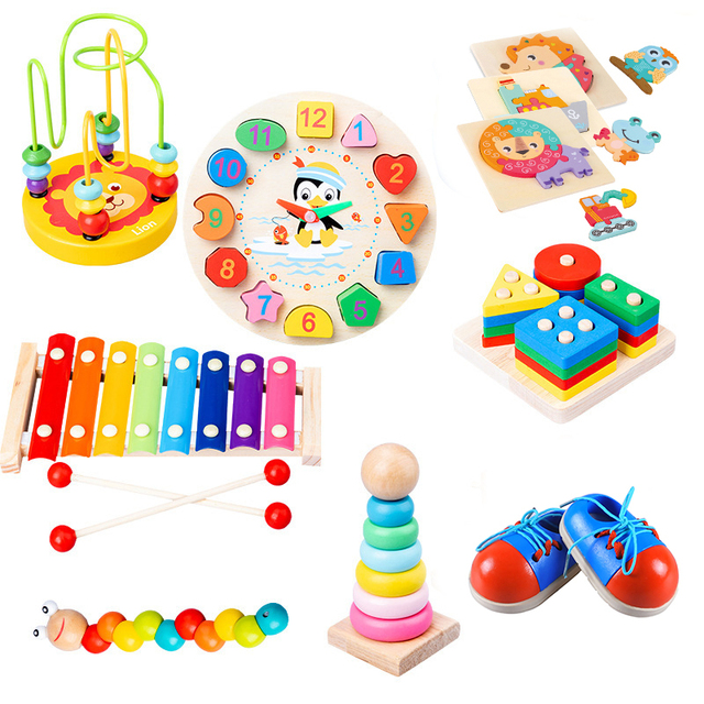 Baby Wooden Montessori Educational Toys Animal Shape Puzzle Rainbow Blocks Circles Bead Xylophone Toys Kids Wooden Learning Toys