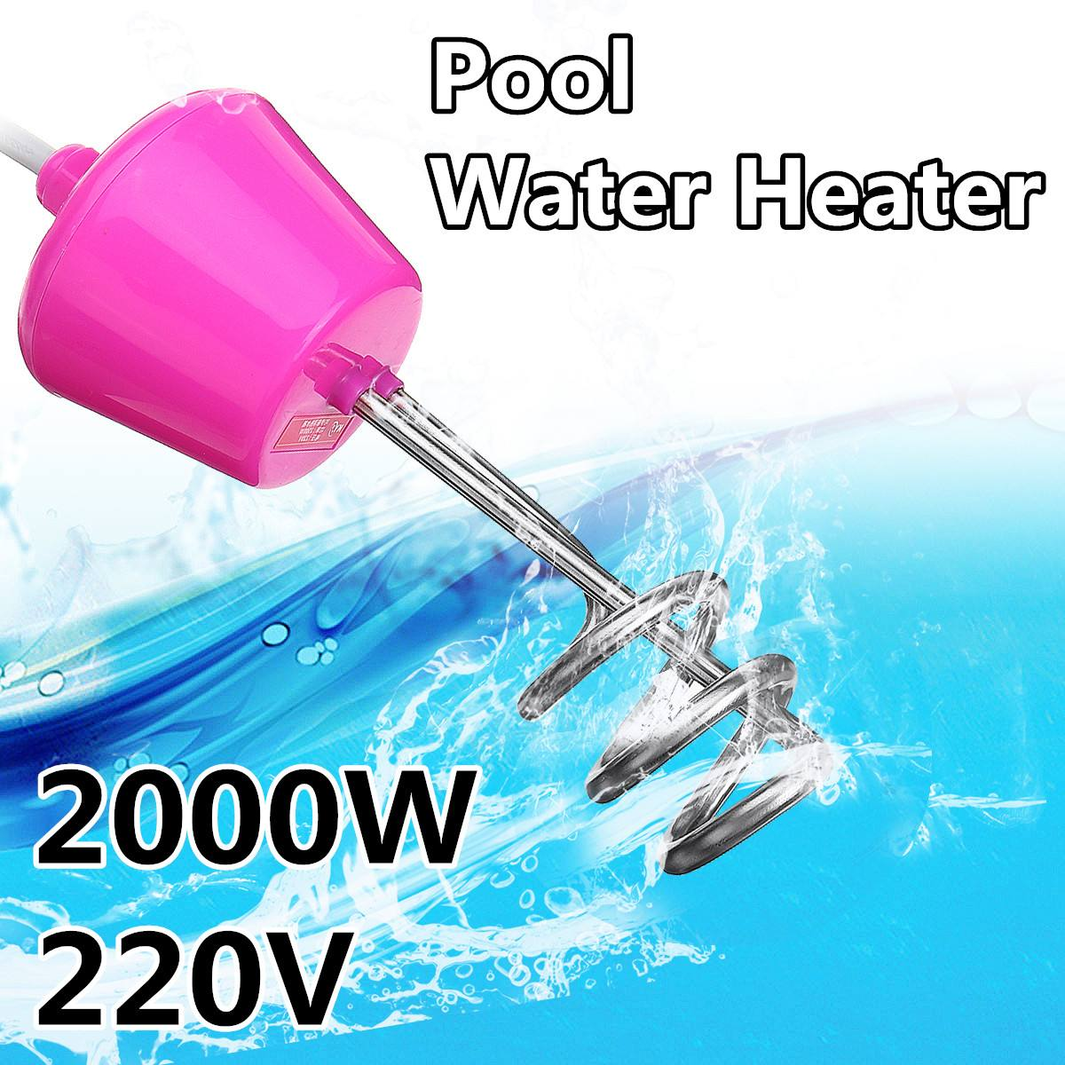 2000W Bathroom Swimming Pool Floating Electric Heater Boiler Water Heating Element Portable Immersion Suspension UK Plug