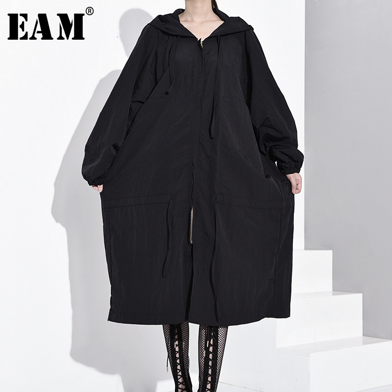 [EAM] Loose Fit Black Oversized Brief Long Jacket New Hooded Long Sleeve Women Coat Fashion Tide Spring Autumn 2020 OB113