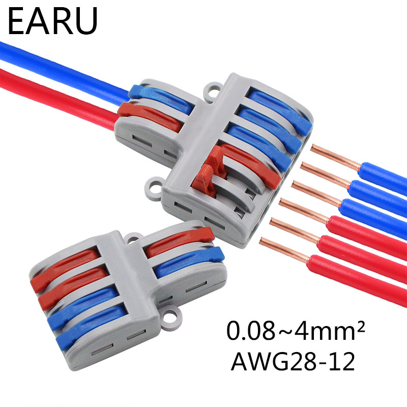 5/10PCS SPL-42 2 In 4/6 Out Mini Quick Fast Wire Connector Universal Wiring Cable Connector Push-in Conductor Terminal Block LED
