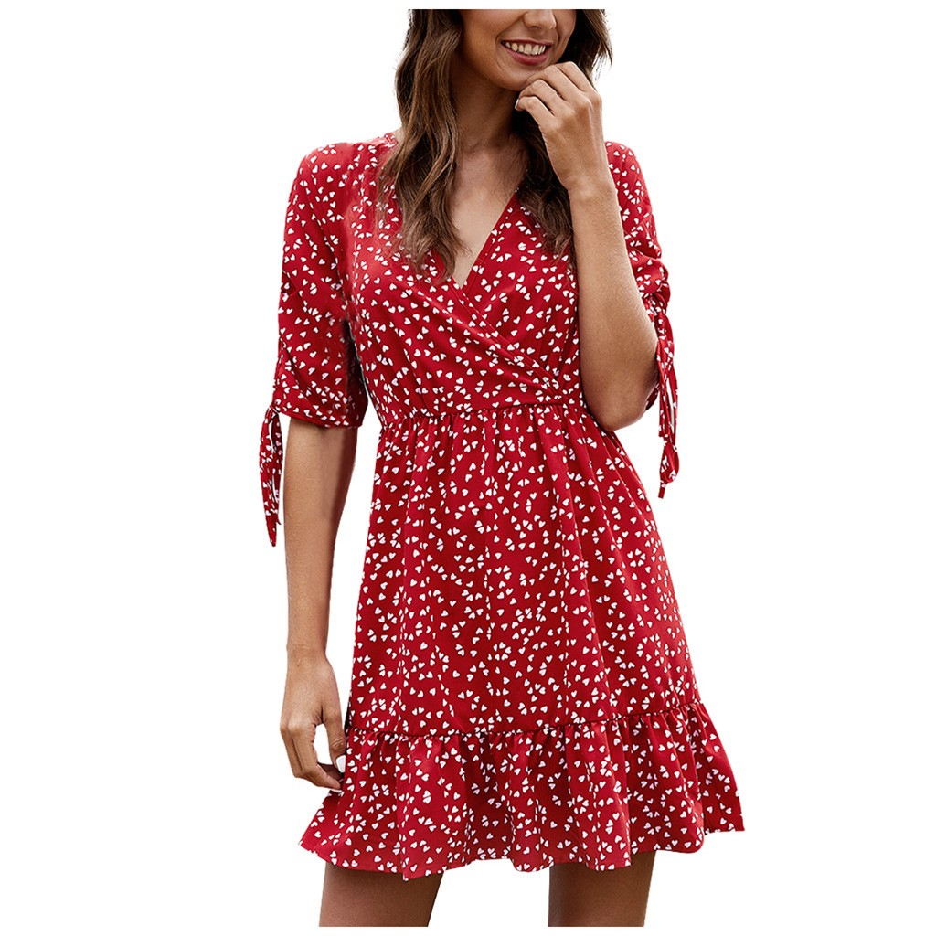 vestido de mujer Fashion Summer Women Sexy V-Neck Printing Ladies Beach Casual Floral Dress femme robe платье 2021