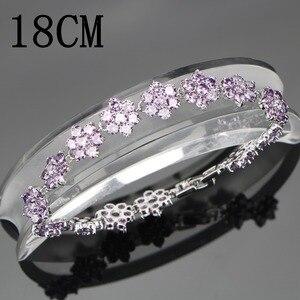 Image 2 - Conjunto de joyería nupcial de plata de circonia púrpura 925, pulseras, pendientes de las mujeres de piedras para COLLAR COLGANTE, anillos, caja de regalo