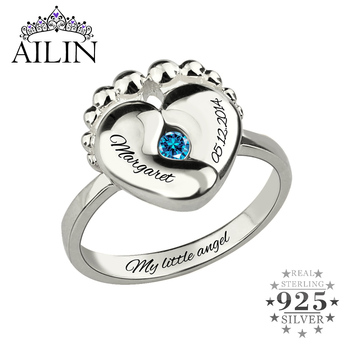 AILIN 925 Sterling Silver Personalised Name Rings Women Baby Feet Custom Engraving Birthstone Ring Mother Birthday Gifts Jewelry kingsman the secret service custom signet rings for men women 925 sterling silver gold color jewelry customize free engraving