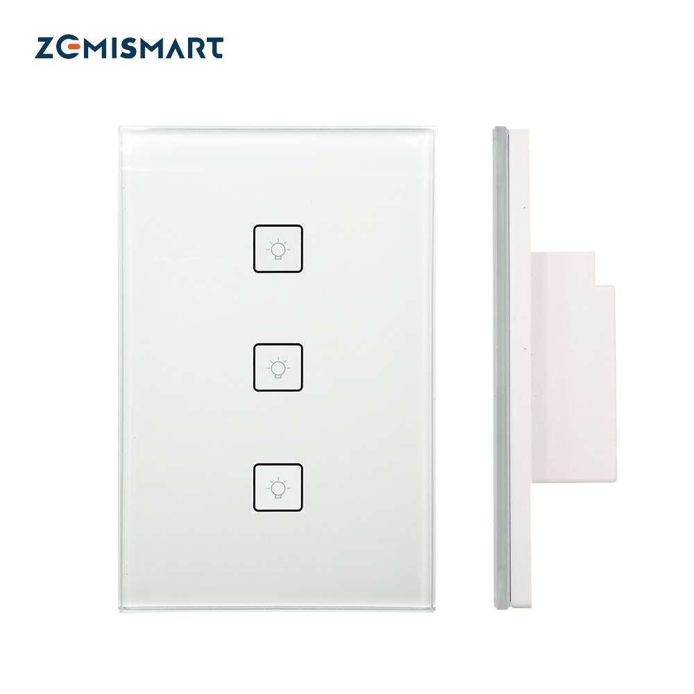 Zigbee US Standard 3 Gangs Smart Light Switch Work with Alexa Google Home via SmartThings Bridge APP Phone Voice Control