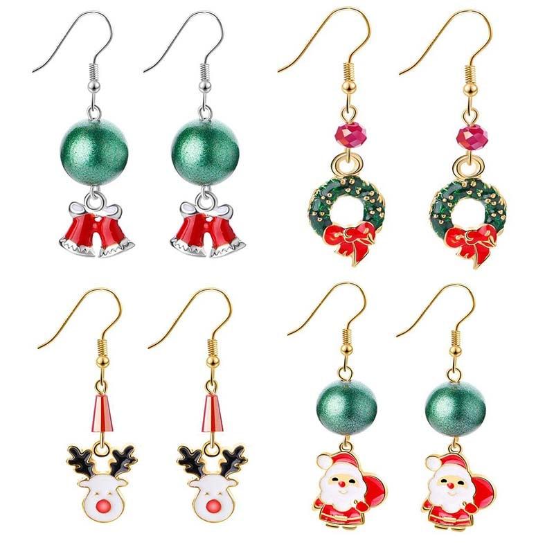 Merry Christmas 2019 Xmas Earring Pendant Gift Ornaments Decor 2020 Happy New Year Navidad
