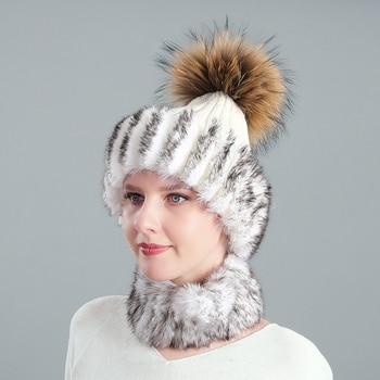 Ladies rabbit hair acrylic knitted hat fox raccoon fur ball new autumn and winter warm scarf set