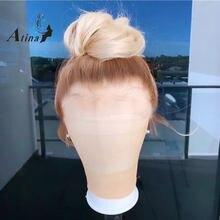 Preplucked peruca de cabelo humano ombre colorido em linha reta 613 hd transparente glueless remy peruca frontal do laço para preto 250 densidade